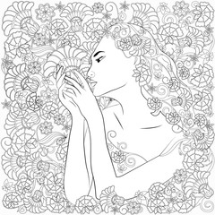 Anti-stress coloring with a woman and flowers