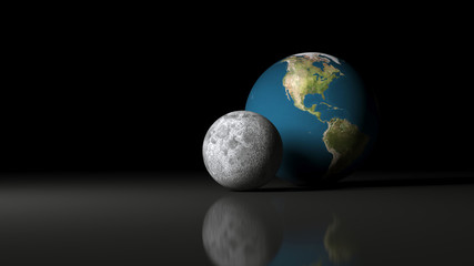 3D Rendering ff Earth Planet And the Moon