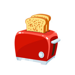 Breakfast, delicious start to the day. Red retro toaster with hot toasts. Vector illustration cartoon flat icon isolated on white.