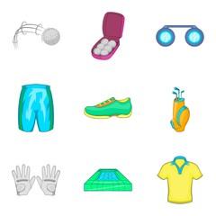 Athlete icons set, cartoon style