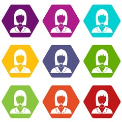 Manager taxi icon set color hexahedron