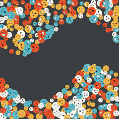 Vector Confetti Background Pattern. Element of design. Colored emoticons on a white background