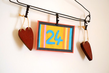Number 24 anniversary celebration card against a bright white background