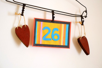 Number 26 anniversary celebration card against a bright white background