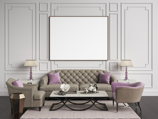 Classic interior in beige and pink colors.Sofa,chairs,sidetables with lamps,table with decor.White color walls with mouldings,frame with blank list on the wall