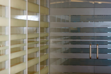 Office corridor door glass partitions room business