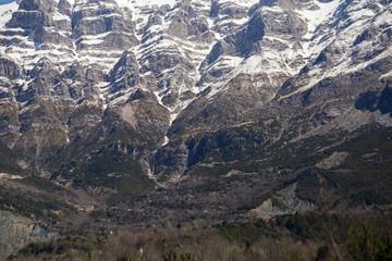 Tzoumerka mountain peaks  in spring time,  snow on the top, epirus greece , for travel background