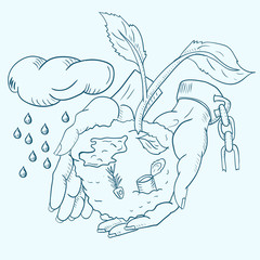 contour illustration of human hands holding a sprouting plant among debris