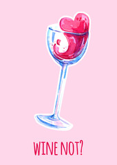 Wine glass watercolor illustration t for posters and cards on pink background