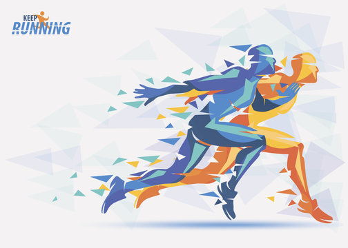 running athletes, sport and competition background with motion color effects of tirangle splints