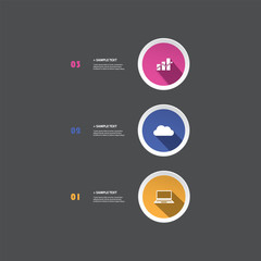 Colorful Modern Style Infographics Design - Minimalist Geometric Shapes, Circles with Icons