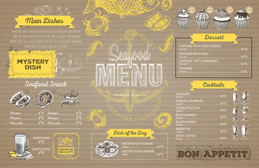 Vintage seafood menu design on cardboard. Restaurant menu