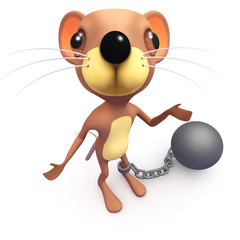 3d Funny cartoon funny mouse character with a ball and chain