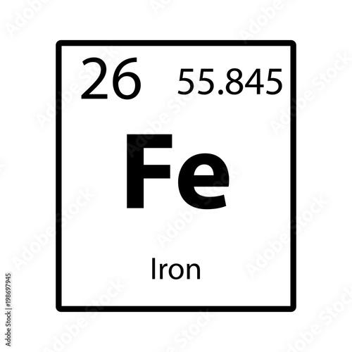 Iron Periodic Table Element Icon On White Background Vector