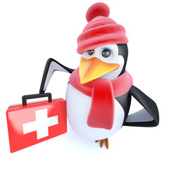 3d Funny cartoon penguin character dressed for winter holding a first aid kit