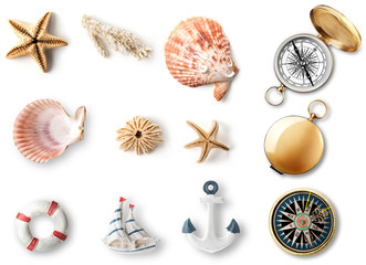 A set of objects related to the sea