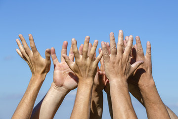 Group of people pulling hands in the air in sunlight. Many hands against blue sky background