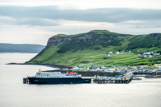 View of the town Uig with it's harbour connection to the outer hebrides