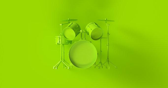 Green Drum Kit 3d illustration