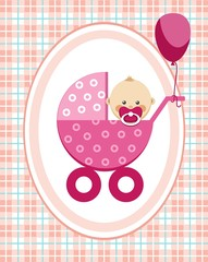 Baby, girl, greeting card, pink checkered background, vector. A little girl in a pink stroller. A pink balloon is tied to the stroller. Color, flat card. Congratulation. Pink squares