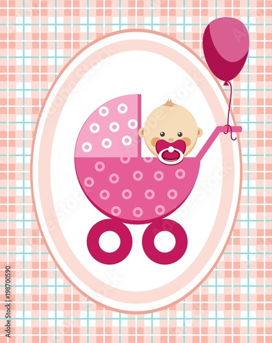 Baby Girl Greeting Card Pink Checkered Background Vector A