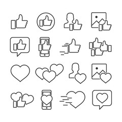 Vector image of set of like icons.Icons of social networks.