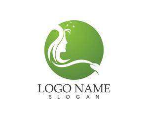 Face beauty woman logo design illustration
