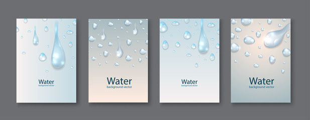 Abstract Water transparent drops backgrounds.vector