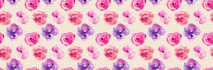 Rose seamless pattern with natural watercolor illustrations of watercolor roses on the paper. Amazing for wedding card, textile, wallpapers, greetings card, web, backgrounds, labels.