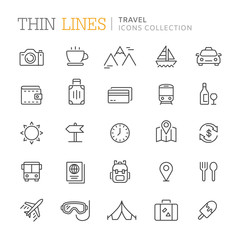Collection of travel thin line icons
