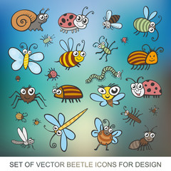 Set funny insects. Isolated on white background. Wasp, bee, bumblebee, butterfly, worm, caterpillar, beetle, ladybug, grasshopper, fly, mosquito, dragonfly, spider. flat vector icon
