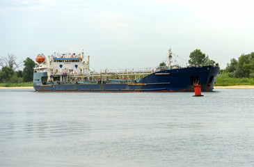 Tanker ship on Don river. Freight oil boat near Rostov-on-Don, Russia.