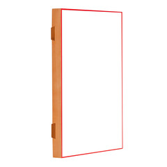 Golden natural color blank wooden frame for photos with a red frame. Isolated on white background, side view