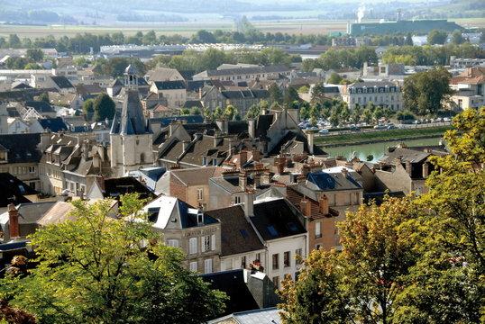 château-Thierry, ville du département de l'Aisne, vue générale de la ville, France
