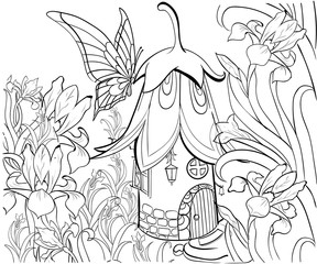 Fairy house for coloring book. Floral elements, butterfly and flowers. Anti-stress coloring for adult. Tattoo stencil. Zentangle style. Black and white lines. Lace pattern