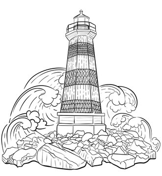 Hand drawn artistically ethnic ornamental patterned Lighthouse, zentangle tribal style for adult coloring book, pages, tattoo, t-shirt or prints. Sea vector illustration