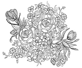 Floral elements and leaves for coloring book. Anti-stress coloring for adult. Tattoo stencil. Zentangle style. Black and white lines. Lace pattern. Vector illustration on white background