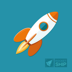 Start Up Business Outline Line Vector Icon Rocket startup. Spaceship for design. Infographic Template. Flat illustration