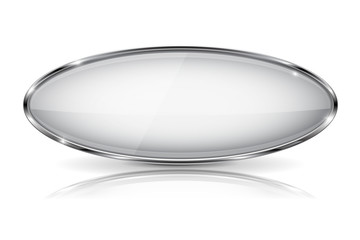 White glass 3d button with metal frame. Oval shape. With reflection on white background