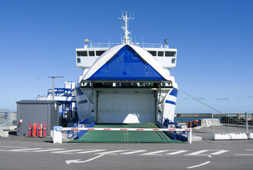 Seafaring: Moored RoRo vessel with open bow door in the harbor