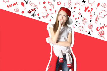 Thoughtful  teen girl in casual clothes   having doubtful look on a color background.
