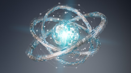 Futuristic torus technology textured object 3D rendering