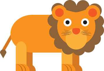 Cute lion designed with very geometric and rounded shapes for kids.