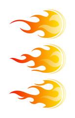 Fireballs. Set of vector fire design elements
