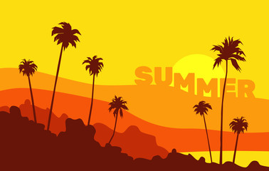 beautiful summer background with palms sunset mountains