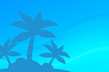 Vector Tropical Landscape. Palm under clean blue sky. Picture with neutral background and copy space.