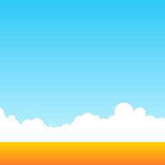 Farm field of wheat at clean daily sky. Rural outdoor landscape. Minimalistic vector backdrop cartoon style.