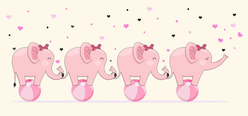 Cute elephants stick together standing on ball. Children's graphics.