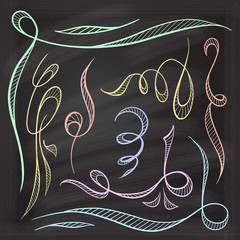 Vector decorative curls and swirls design elements on a chalkboard background