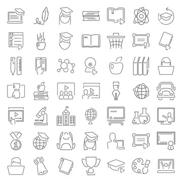 Line school and online education icons set